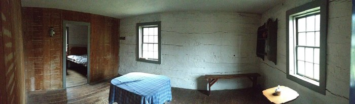 This roped off area could provide a good vantage point to augment a person sleeping while the visitor searches for clues.